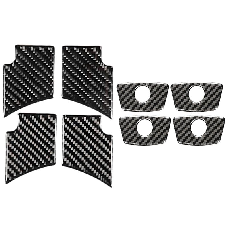 Cuvette de porte intérieure de voiture en Fiber de carbone, garniture de décoration moulée avec goupilles de verrouillage de porte intérieures, garniture de couverture 4 pièces