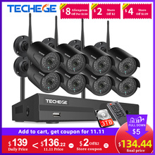 Techege 8CH CCTV Security System Kit 1080P HD Audio Wireless NVR Kit Outdoor Night Vision Security IP Camera WIFI Plug & Play
