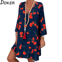 Mini Dress V-Neck Long-Sleeve Office Loose Floral-Print Spring Summer Plus-Size Casual