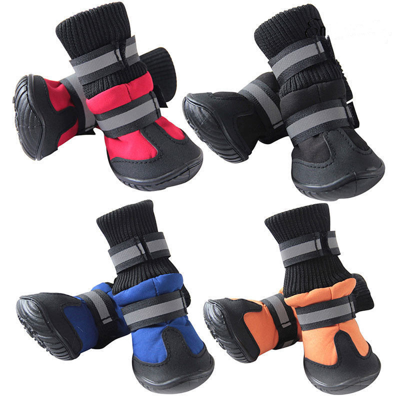 4PCS Waterproof Pet Dog Shoes Winter Warm Rain Sno