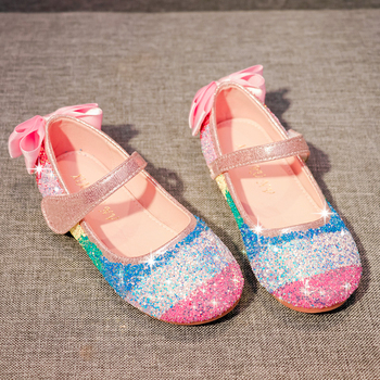 Kids Leather Shoes Spring Autumn Fashion Glitter Rainbow Bowtie Single Shoes Children Girls Princess Shoes Flat Sneakers  SJD009 abckids new spring autumn girls soft leather shoes children girls princess bowknot sneakers single shoes kids dance shoes rubber
