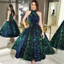 Зеленое бальное платье с блестками платья для выпускного вечера