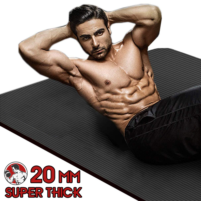 183X80X2cm Men Gym Mats Large Size NBR Non-slip Exercise  Mats For Yoga Mat 20 MM Fitness Sport Pad With Bandages Super Thick