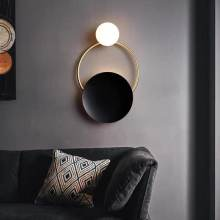 Modern Led Wall Lamp for Bedroom Bedside Black Rotation Sconce in Staircase Aisle Corridor Foyer Round Interior Decor Lighting