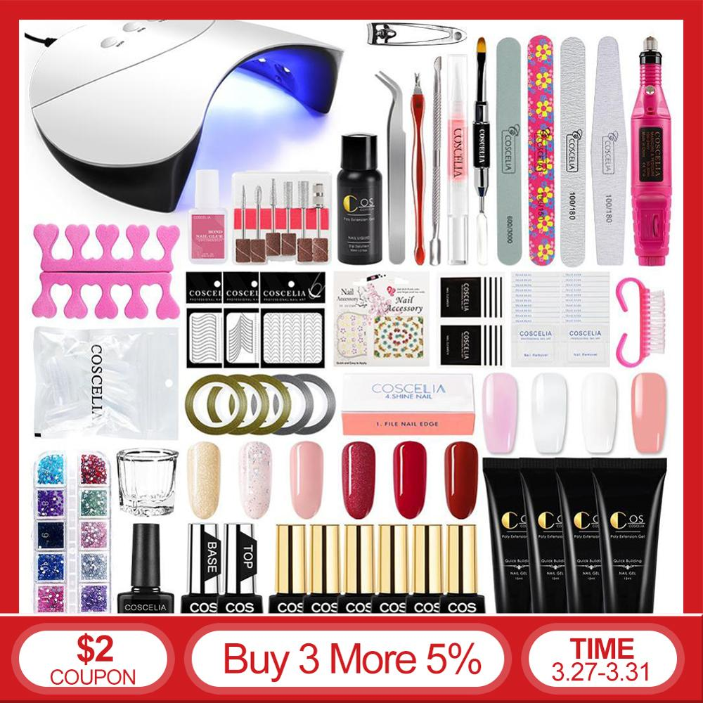 Nail Extension Set Manicure Set Nail Polish Gel Kit  Builder Gel Nail Art Tools Crystal Colors Quick Building Natural Gel Polish