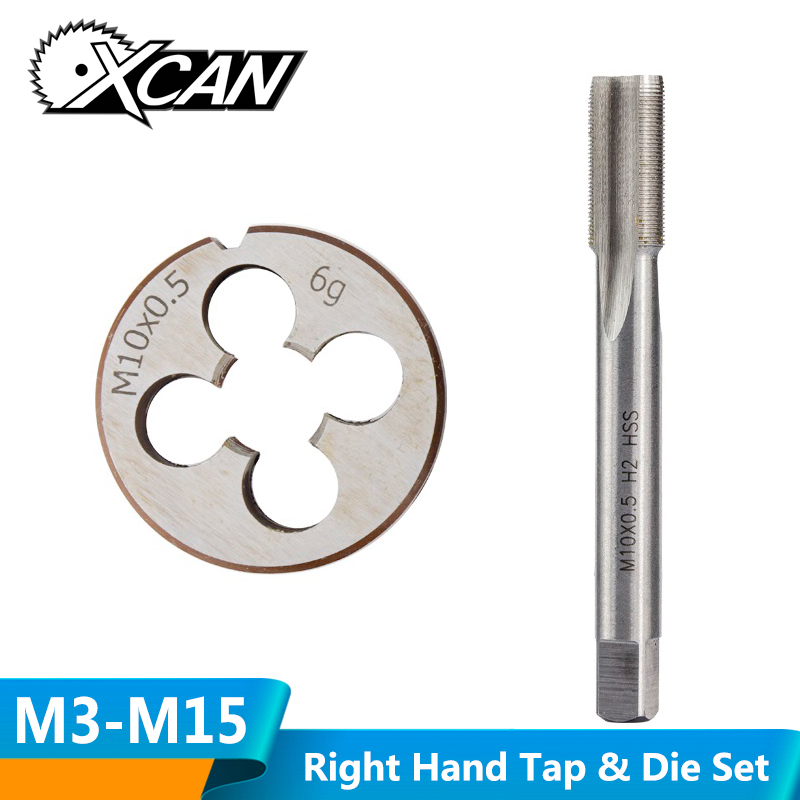 XCAN 2pcs M3-M15 Right Hand Thread Tap And Die Set Metric Plug Tap Die HSS Machine Threading Tool Screw Thread Tap Drill Die Set