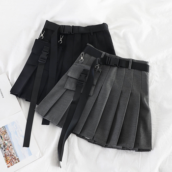 HELIAR Women Spring Pleated Skirts A-line Mini Skirts Wide Leg Outwear Saches Skirts 2020 Spring Sexy Skirts With Pockets фото