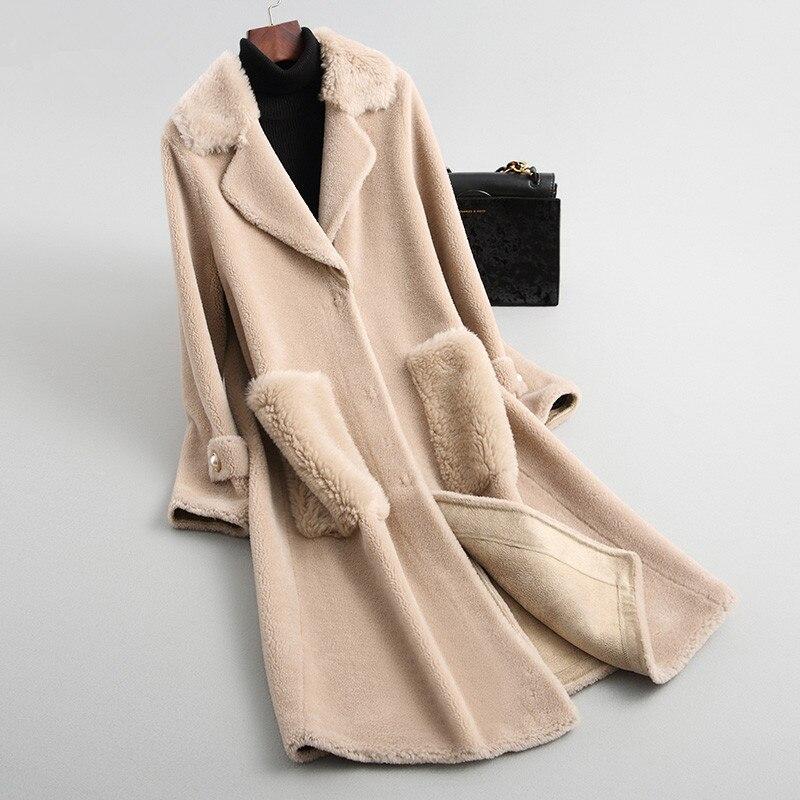 Coat Fur Real Female Jacket 2020 Winter Jacket Women Lamb Fur Korean Jackets 100% Wool Coat Female Long Outwear MY3641 S