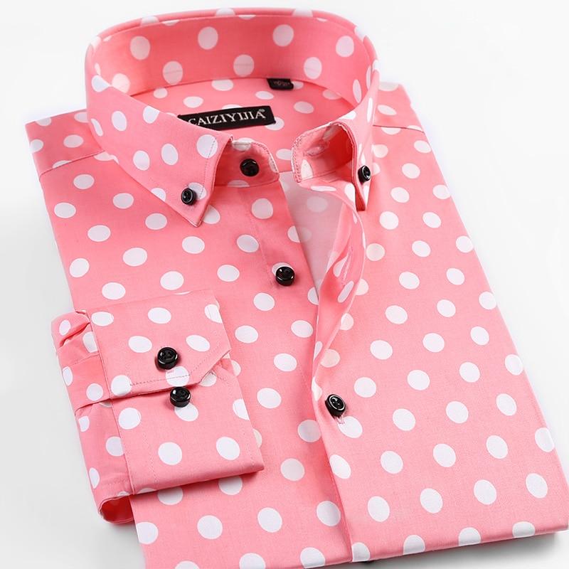 Men's Long-Sleeve Standard-Fit Polka Dot Casual  Shirt Pocket-less Design Comfortable Button-Collar Flower Hawaiian Shirts