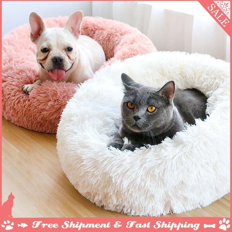 Redondo longo pelúcia gato & cachorro camas animais de estimação dormir donut cuddler cama super macio macio confortável para pequeno médio grande casa de estimação