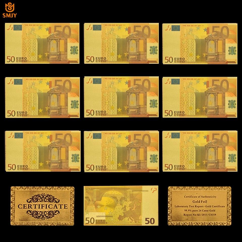 10 pçs/lote cor euro notas de ouro 50 euro folha de ouro notas lembranças papel coleção dinheiro