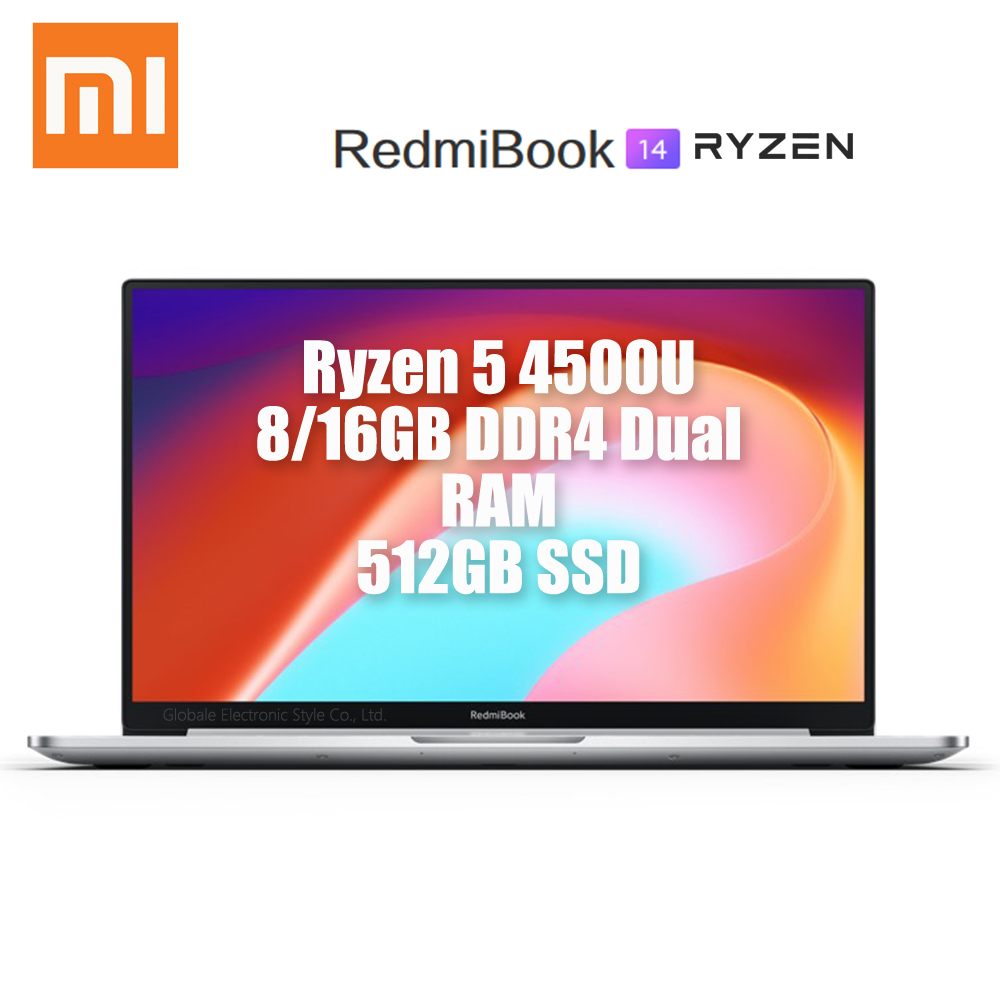 Original Xiaomi Redmibook 14 II Laptop 2020 Ryzen 5 4500U DDR4 Dual RAM 512GB SSD Windows 10 MIMO WiFi USB Type C HDMI Computer