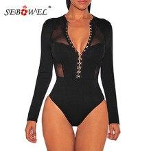 SEBOWEL Sexy Black Long Sleeve Mesh Sheer Breasted Bodysuit Women Bodycon Romper