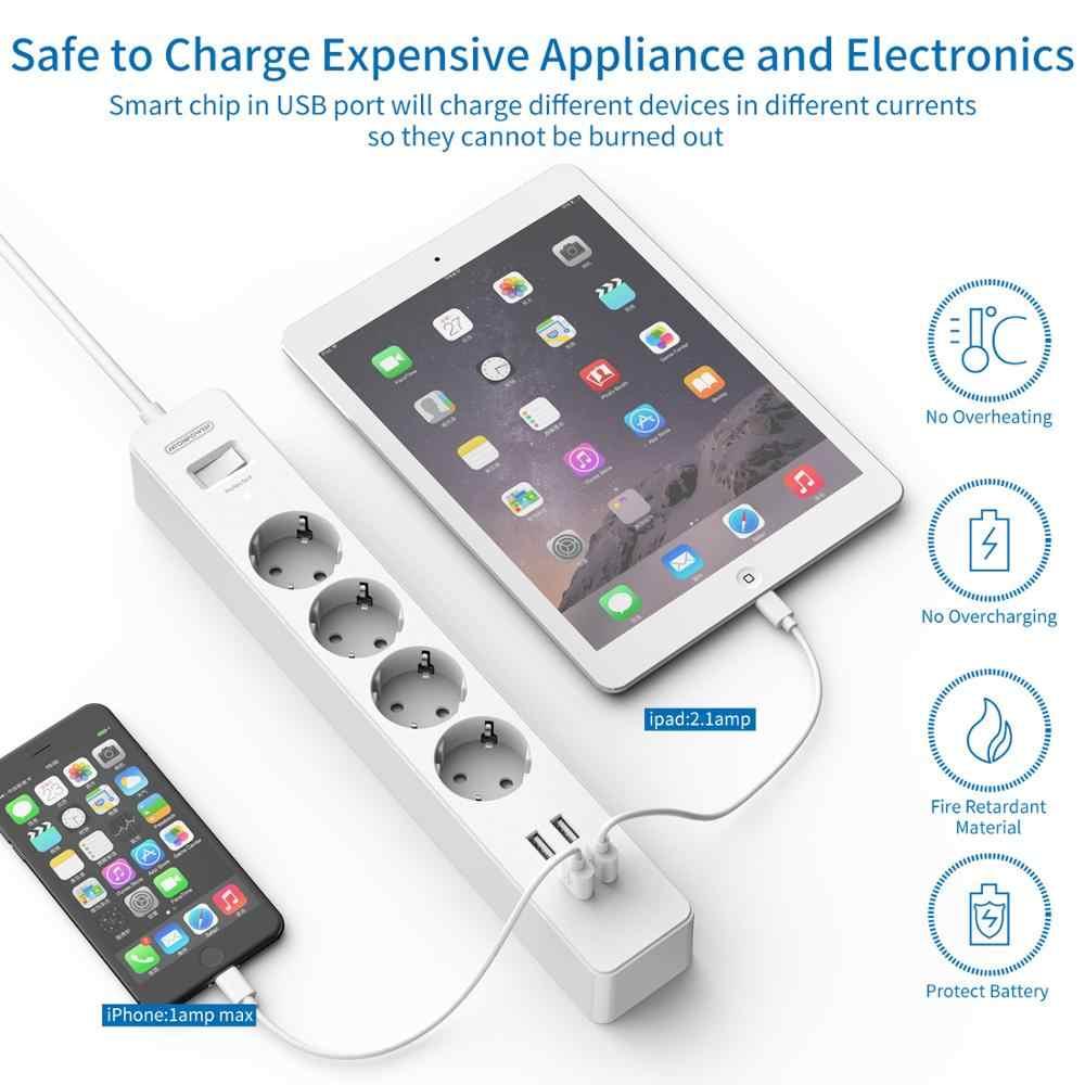 Ntonpower Smart Usb Power Strip Eu Plug 4 Outlet 4 Port Usb Charger - 1.5M Kabel Elektronische Socket Thuis kantoor Surge Protector