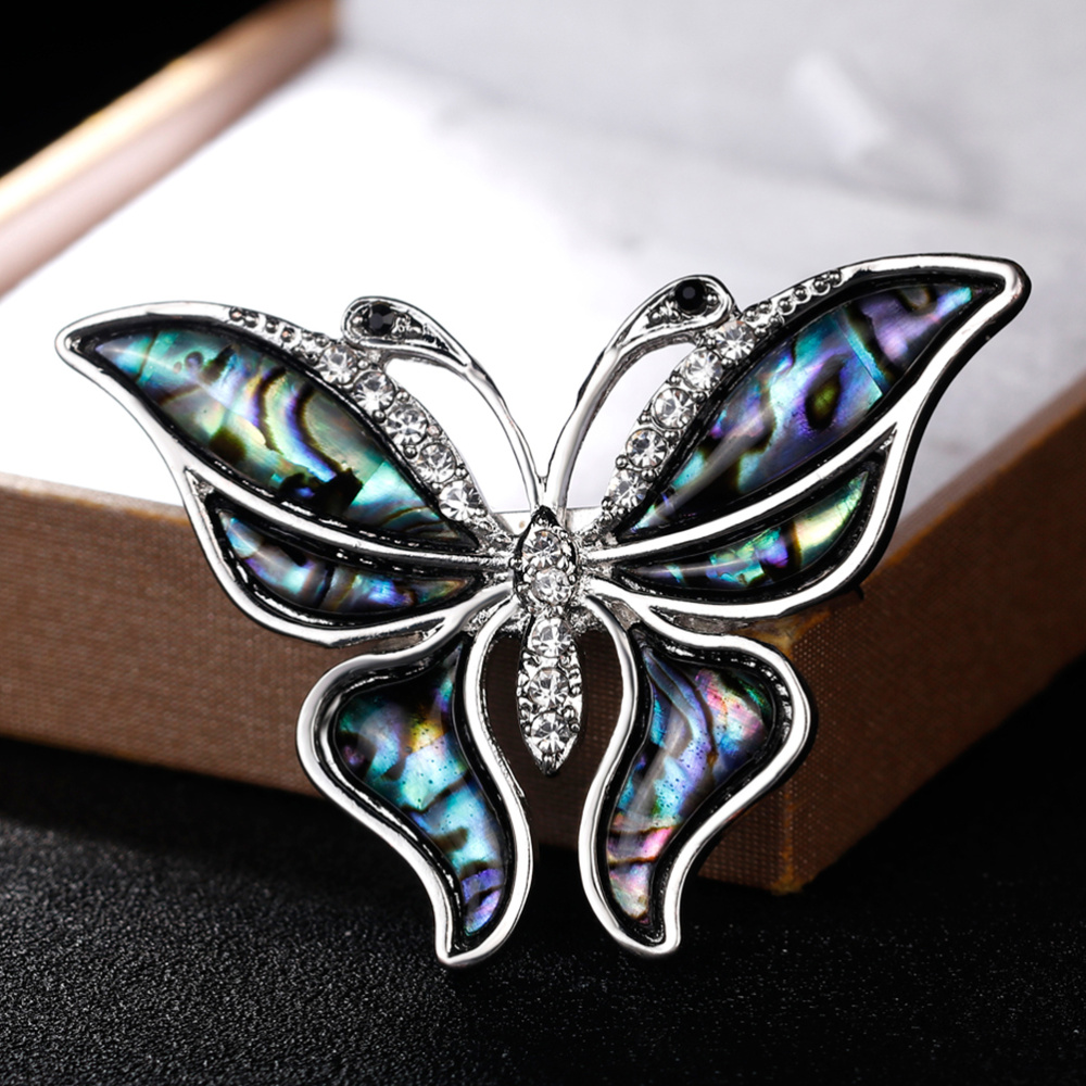 Vintage Rhinestone Shell Brooch Collar Animal Corsage Jewelry Accessories for Girl(As Shown)-5