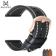 MAIKES Watch Band Handmade Genuine Leather Strap 20mm 22mm 24mm Men With Stainless Steel Buckle For Panerai Tissot Watchband
