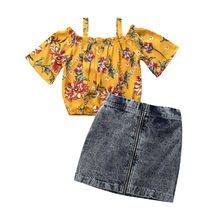 New Toddler Kids Off Shoulder Floral Clothing Outfits Baby Girl Tops T-shirt Denim Mini Skirts 2PCS Set Baby Girl Clothes 2018 newborn toddler kids baby girls 3d rose floral off shoulder t shirt tops denim raw hem hot shorts outfits clothes 2pcs set