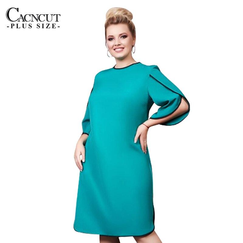 US $15.98 40% OFF 5XL 6XL 2019 Autumn Plus size Women Dress Casual Office  Lady Work Dress Bodycon Three Quarter Elegant Party Big Large Size Dress-in  ...