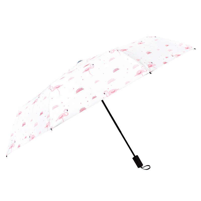 Corée frais mignon flamingo parapluie automatique trois-pliage parapluie protection solaire UV pour femme parapluie clair