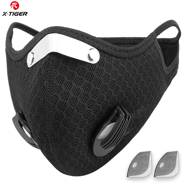 X-Tiger Sport Face Mask With Carbon Activated Filters Breathable Cycling Mask Dustproof Bicycle Respirator Training Earloop Mask