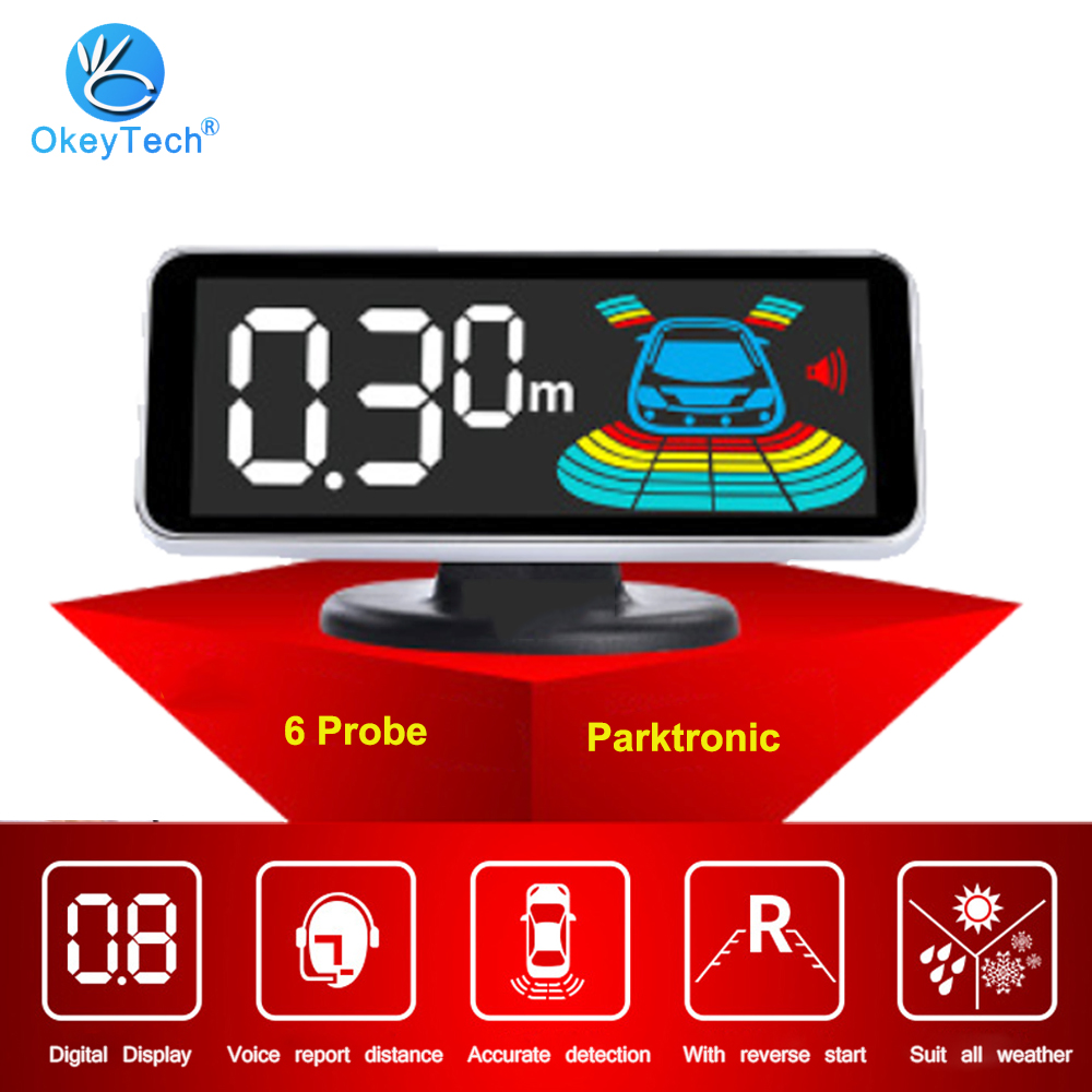 OkeyTech Parktronic Parking 6 Sensors Car Reverse Backup LED Parking Reverse Sensor Automobile Reversing Radar Monitor Detector