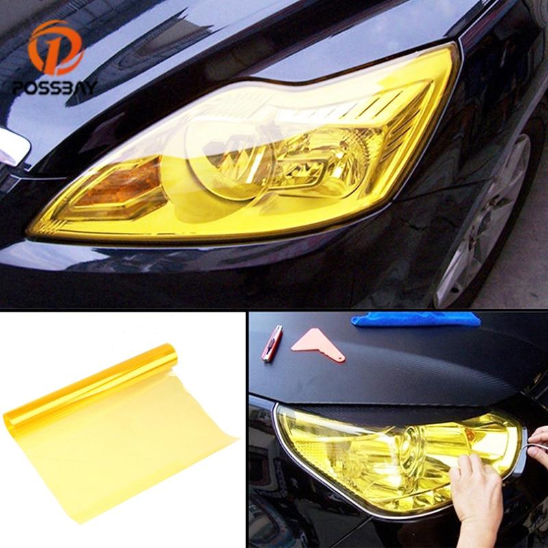 POSSABY 30*180 cm głęboka czerń światła samochodowe naklejki światła samochodowe reflektor Taillight folia z odcieniem naklejki przeciwmgielne tylna lampa żółty Film