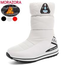 MORAZORA حجم كبير 31 43 الثلوج أحذية نسائية منصة أحذية الشتاء مقاوم للماء الإناث الأبيض الدافئة أحذية قطنية حذاء من الجلد