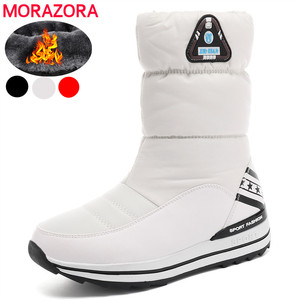 Image 1 - MORAZORA Plus size 31 43 Snow boots womens shoes platform waterproof winter boots female white warm cotton shoes ankle boots