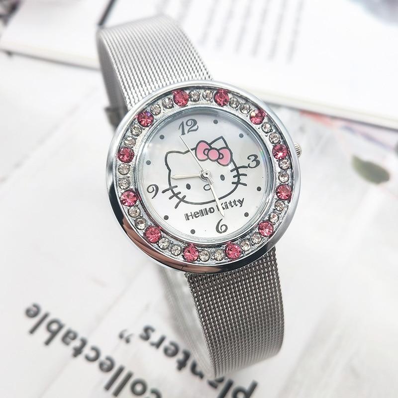 2020 новый Kt Cat Cute Girl Children Cartoon Watch Stainless Steel Band Children Diamond Watches
