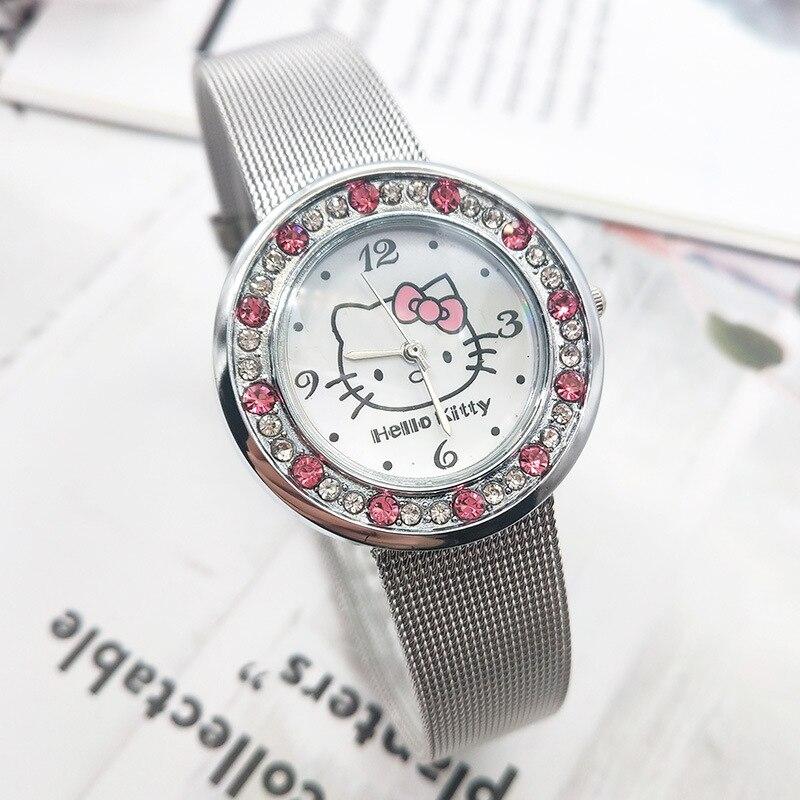 Kt Cat Cute Girl Children Cartoon Watch Stainless Steel Band Children Diamond Watch