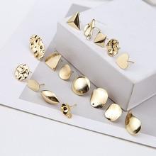 цена на 2 pcs fashion charm copper irregular round triangle heart-shaped geometric stud earrings for women diy jewelry accessories