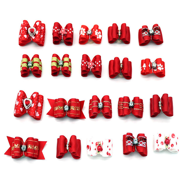 10pcs/lot Hand-made Small Dog Hair Bows Rubber Band Cat Hair Clips Boutique Valentine's day Pet Dog Grooming Accessories Product