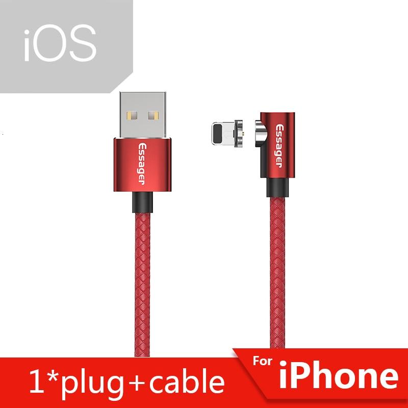 Магнитный Micro USB кабель Essager для iPhone samsung, кабель для быстрой зарядки и передачи данных, Магнитный зарядный кабель usb type-C для мобильного телефона - Цвет: Red iOS Cable
