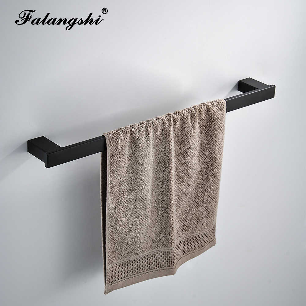 Kualitas Tinggi Kamar Mandi Hardware Set 304 Stainless Steel Hook Jubah Kertas Pemegang Handuk Bar Matte Hitam Kacau Dinding WB8850