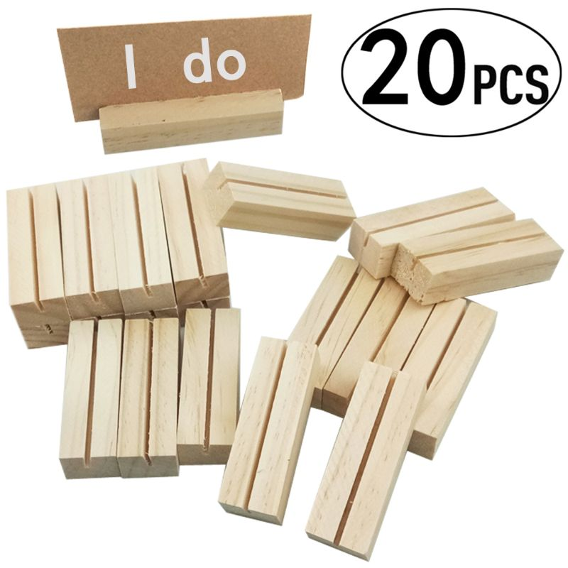 20pcs Natural Wood Name Memo Clips Photo Holder Clamp Business Card Stand Desktop Message Organizer