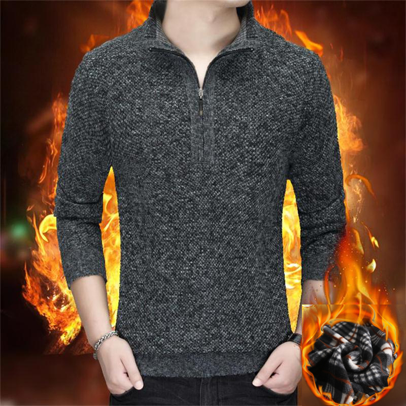 Thick Warm Fashion Brand Sweaters Men's Half Zip Pullovers Slim Fit Jumpers Knitwear Winter Korean Style Casual Mens Clothes