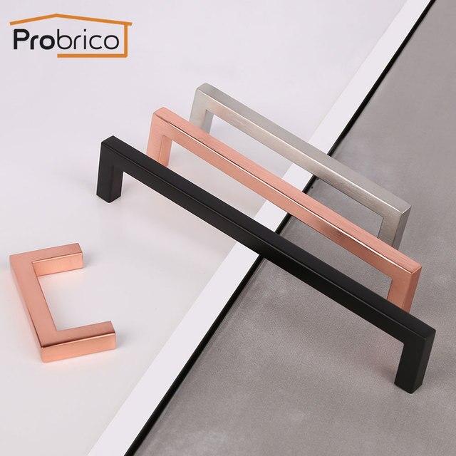 Probrico Matte Black Cabinet knobs and handles Rose gold Cupboard Wardrobe Drawer Closet Pulls Minimalist Furniture Handle Pulls