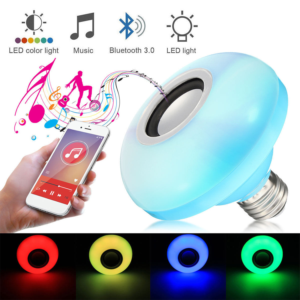 Colorful LED Music Bulb Wireless Audio KTV Bar Light Loudspeaker Bluetooth 4.0 RGB Home Gift Speaker E27 Lamp APP Control Smart