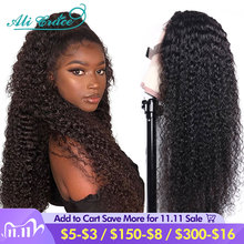 Ali Grace Hair 4x4 Curly Lace Closure Wigs Brazilian Pre Plucked Kinky Curly Human Hair Wigs 5x5 6x6 Lace Closure Wigs for Women