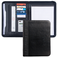 цена на A4 Zipper Black Padfolio Portfolio PU Leather,Business Document Organizer Conference File Folder With Calculator