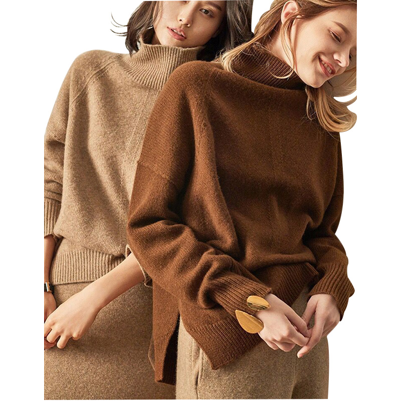 Autumn And Winter New Cashmere Sweater Women's High-Necked Pullover Loose Thick Sweater Casual Knit Shirt Clothes Tops New