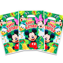10pcs/set Mickey Minnie Gift Loot Bag Candy bag Kids Girls Happy Birthday Party Supplies Baby Shower Party Decoration(China)