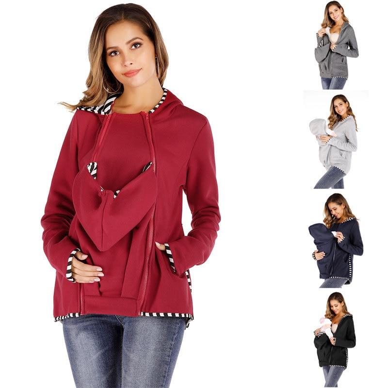 Kangaroo Hoodie Coat for Women Striped Mom and Baby Pouch Carrier Zipper Jacket Maternity Pregnancy Sweatshirt Coat