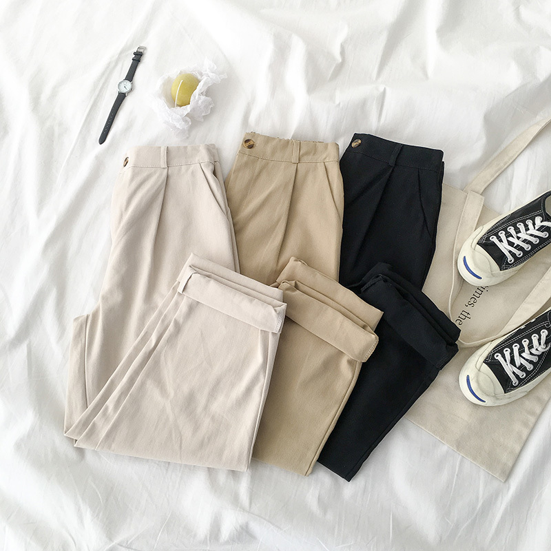 Safari Style Casual Long   Pant   Women Solid Fashion High Waist   Wide     Leg     Pants   Female Harajuku Black Khaki Trouser Cotton Bottoms