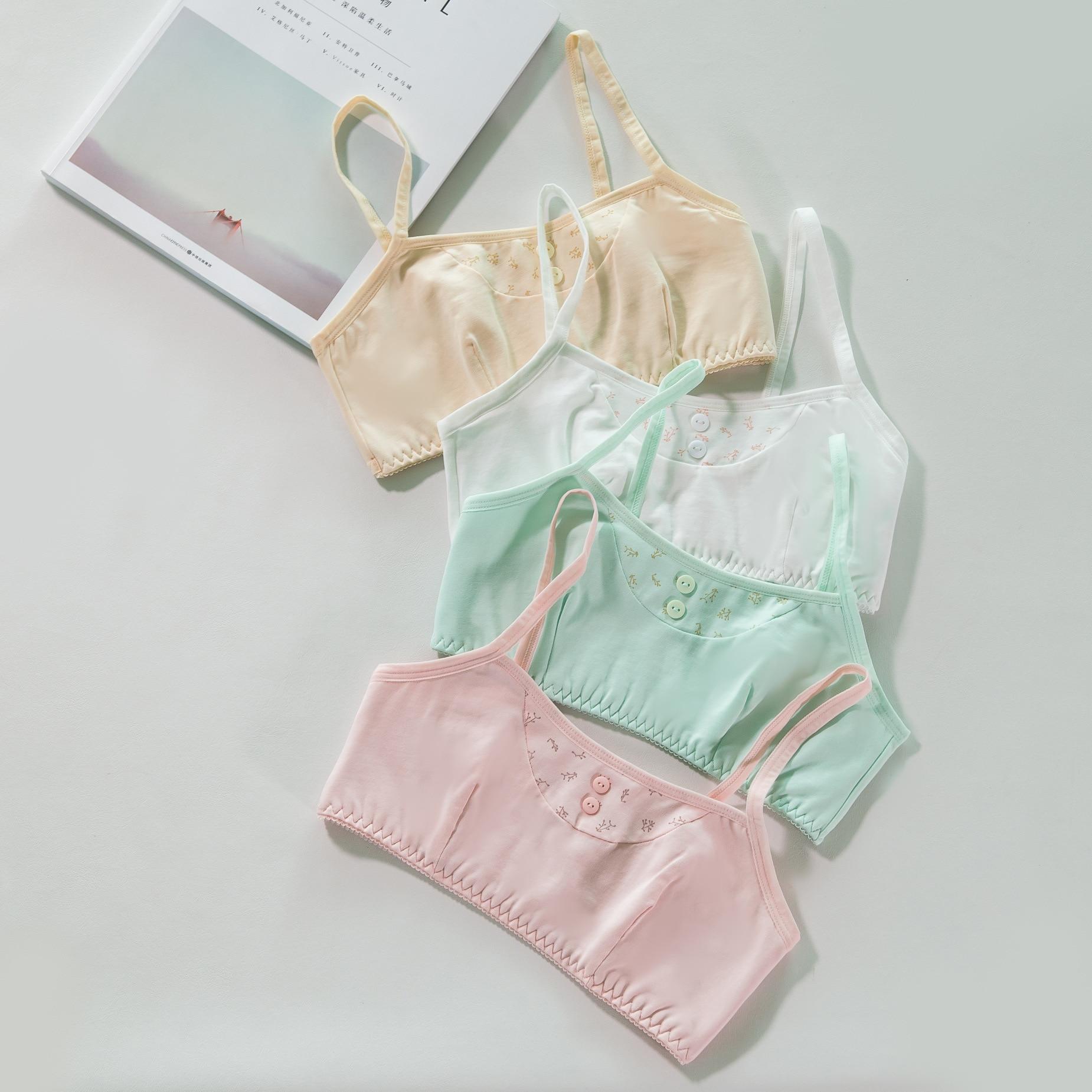 2019High Quality Girl Vest Bra Cotton Underwear Training Bras Children Summer Bra Underwear Kids Bra Teenage Underwear5058