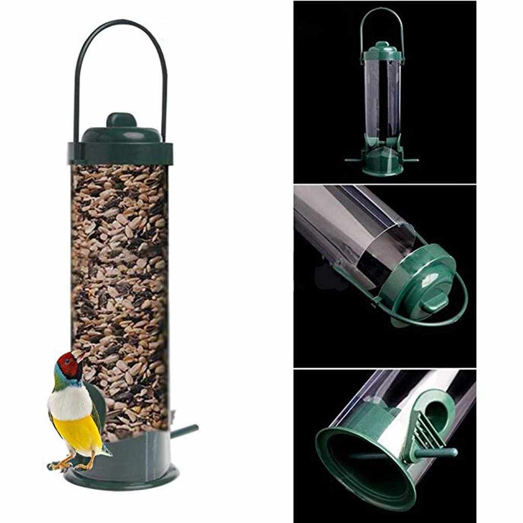 Hanging Bird Feeder Squirrel Proof Seed Container Dispenser Garden Yard Decor
