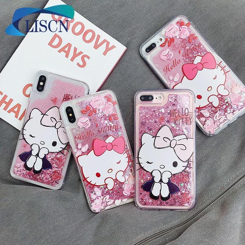 Чехол для телефона LISCN, с динамическим жидким блеском, милый чехол для телефона iPhone 6, 6S, 7, 8, 6P, 7P, 8P, X, XR, Xs Max, мягкий чехол для телефона, задняя крышка|Специальные чехлы|   | АлиЭкспресс