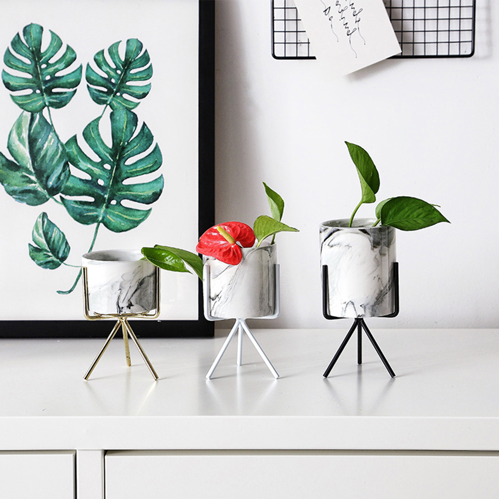 CellDeal 1SET Ceramic Plant Pot Succulent Dry Flower Stand Vase Planter Tool Nordic Minimalism Style with Iron Wire Metal Rack