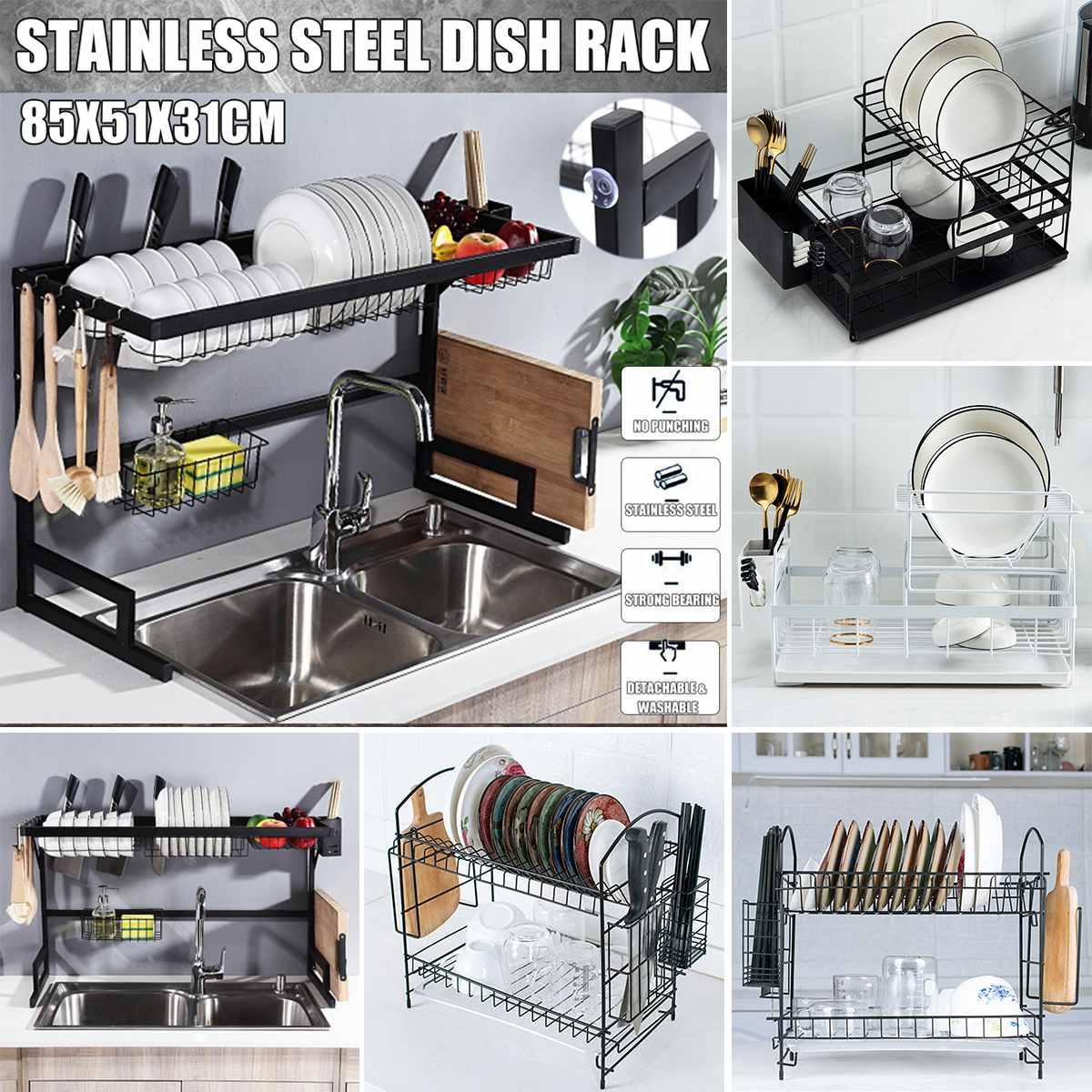 อลูมิเนียมจานห้องครัวจัดเก็บ Drainer แห้งแผ่นชั้นวางอ่างล้างจานอุปกรณ์มีดและส้อมคอนเทนเนอร์