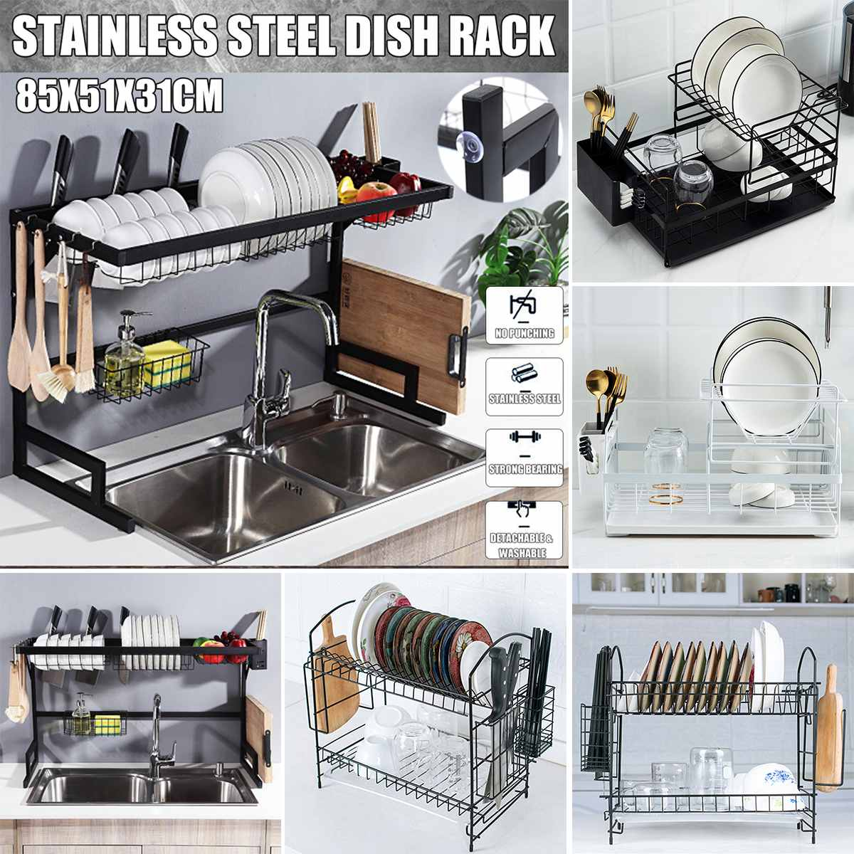 Shelf Knife Dish-Rack Fork-Container Sink-Supplies Storage Kitchen-Organizer Drying-Plate title=
